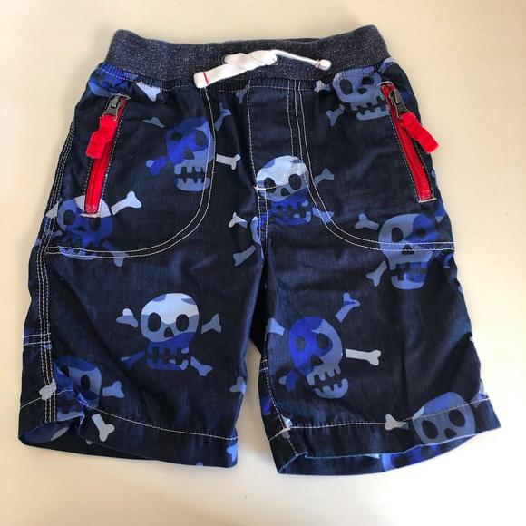 Mini Boden Other - Mini Boden Adventure Shorts Navy Skull Print